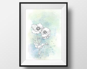 Watercolor Poppies Print