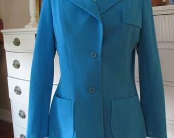 Vintage Kay WIndsor Jacket Pants M Aqua Blue Retro 70's