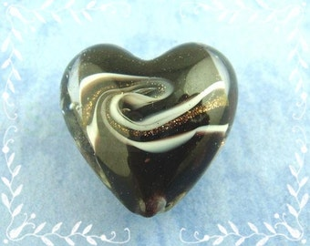 "2 Lampwork beads ""Heart"" - 19 * 20 mm - black-glitter / i1-0150"