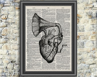 Dictionary Page Art - Instant Download - Wörterbuch Print Art - Vintage illustration - heart