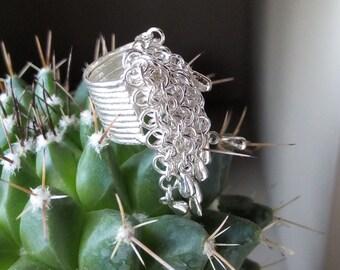 Vintage silver 925 fringe ring from Thailand flea market size 49(fr)