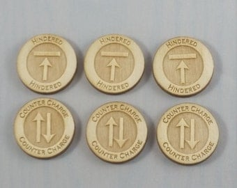 Hindered/Counter Charge Tokens (Kings of War Compatible)