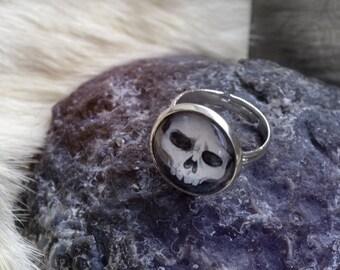 RING Cabochon skull - adjustable