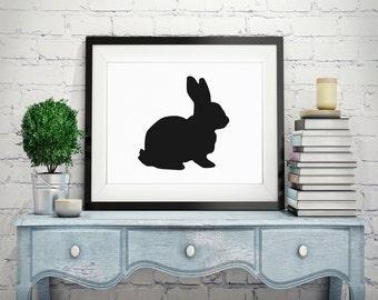Rabbit Silhouette Print Modern Art Minimalist Art Rabbit Print Black White Art Silhouette Print Wall Art Picture Silhouette Art Minimal Art