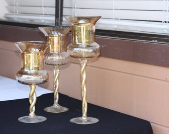 Golden brown glass candle holders 1980s