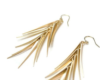 Gold Dagger Tassel Earrings