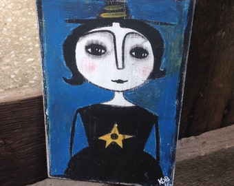Primitive Halloween Witch Art 5 x7 Original Hand Painted