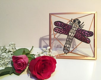 Dragonfly Papercut Backed with Pink Watercolour