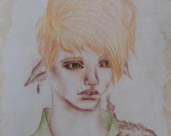 Elf boy drawing
