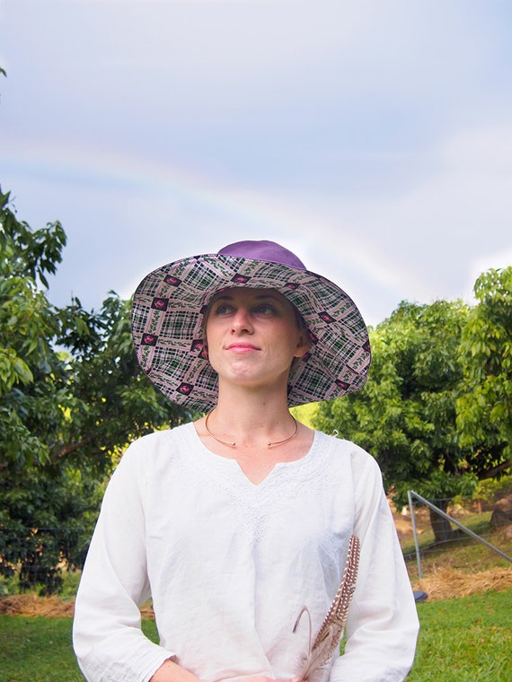 Hemp / Organic Cotton & Vintage fabric Sun Hat