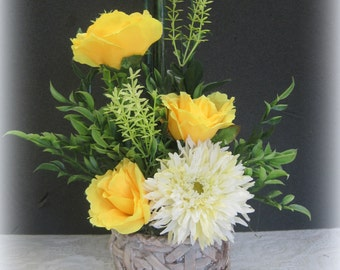 Yellow Contemporary/Rustic Floral Arrangement