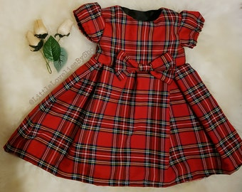 Baby Girls Red Royal Stewart Tartan Christmas Dress 3-6months, 6-9months, 9-12 months, 12-18months