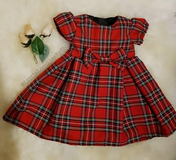Baby Girls Red Royal Stewart Tartan Christmas Dress Sizes From