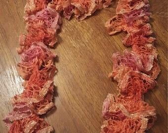 Orange Knit Ruffle Scarf