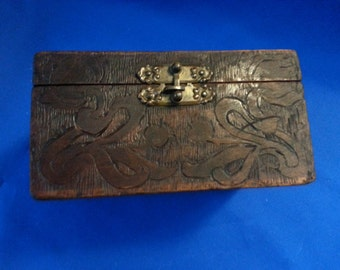 ANTIQUE-Flemish Wooden Box with Latch.