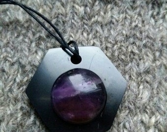 "Shungite pendant ""HEXAGON AMETHYST"" from Karelia magic aura stone talisman health"