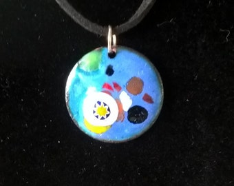 Blue enamelled pendant