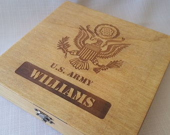 Personalized US Army Keepsake Box - Boot camp graduation gift for soldier