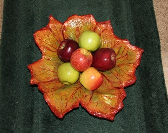 Leaf Casting Fruit Bowl, decorative fall colors. Hand made in Alabama using real Sycamore leaves.  One of a Kind. Concrete leaf casting.