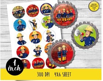50% OFF SALE Fireman Sam bottlecap-Fireman Sam 1 inch Bottlecap-Printable Image-Fireman Sam collage sheet-Fireman Sam cupcake topper-COD101