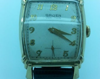 Gruen Veri-Thin Vintage Men's Wrist Watch circa 1950