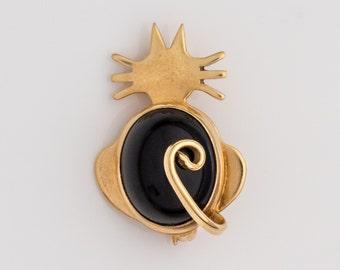 Cat Kitten 14k 2-Tone Gold Onyx Motif Silhouette Brooch Pin, VJ#54
