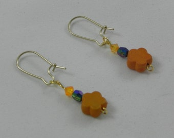 Orange/blue flower dangle earrings