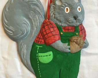 Custom Squirrel Paper-maché Ornament