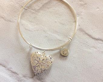 Heart Bangle, Silver Bracelet, Locket Bangle, Heart Charm Bracelet, Bangles, Locket Bracelet, Heart Bracelet, Silver Heart.