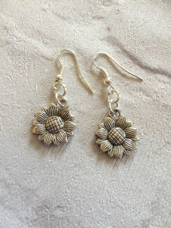 Sunflower Earrings Flower Earrings Silver Earrings Kids