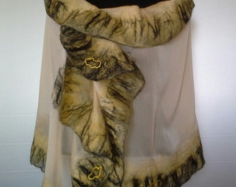 Scarf silk and merino wool, silk and merino wool scarf, scarf, silk scarf, scarf feltroseta nunofeltro technique and merino wool, black Lemon