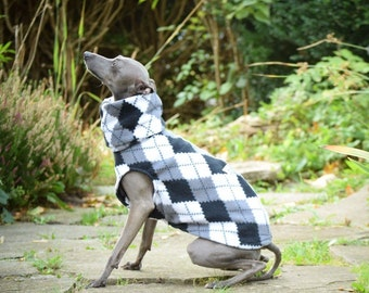 Italian greyhound roll neck vest made from soft, warm, anti-pill fleece called UniVest