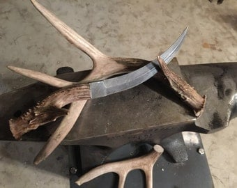 Hand Forged Damascus and Antler Knife