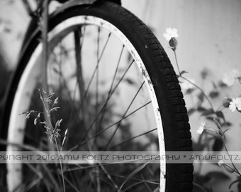 vintage bike photo - black and white photography  - fine art photography - wall decor - farmhouse decor - bicycle photo