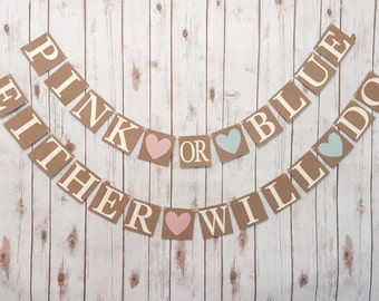 Gender Reveal Banner,pink or blue banner, baby shower,gender reveal  sign,gender reveal bunting,pink of blue either will do banner