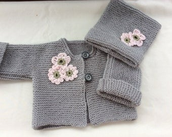 Hand knitted pale grey baby girls 3month cardigan/jacket and hat