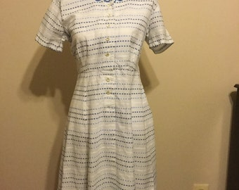 Vintage Blue and White Dress--Ladies size approximately 6