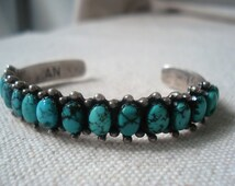 Turquoise Bracelet,Bisbee,Sterling,Cuff, Vintage Native American, signed stamped by AN & GL