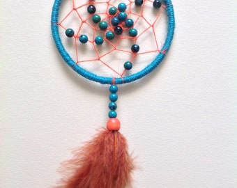 Swirling Dreamcatcher - Teal and Orange with Chrysocolla Sphere gemstones