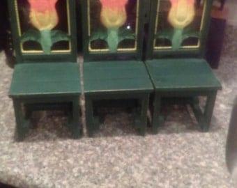 Green miniature flower chairs