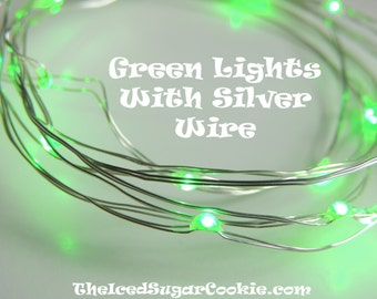 Green Birthday Party Lights by TheIcedSugarCookie.com-LED Battery Operated Lights 6.6 ft-Monster Mash,