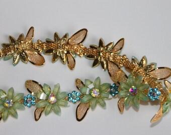 Rhinestone Green Flower Trim,  Blue Rhinestone Flowers and Golden Leafs
