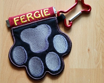 Treat bag black embroidered with names and carabiner, dog, food bag, dog-walking go bag, reward,
