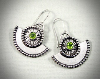 Peridot & Sterling Silver Fan earrings