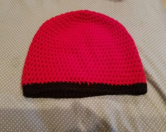 Simple red and black beanie!