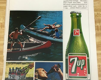 Seven Up (7up) Vintage Single Page Ad 1965