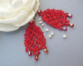 Red tatting lace earrings, big drop earrings, beaded tatted jewelry,chandelier lace earrings, gift for her, gift for women