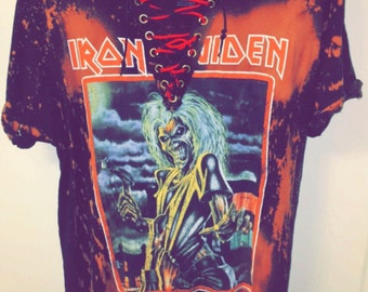 Iron Maiden V laced tee