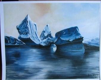 Blue - Iceberg Painting PRINT