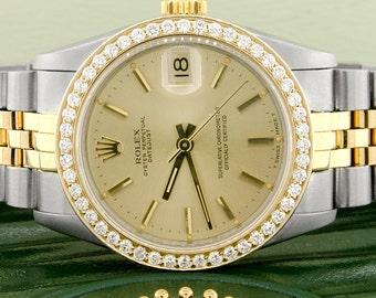 Rolex Datejust 2-Tone Gold/SS Original Champagne Dial 31mm Watch w/Diamond Bezel